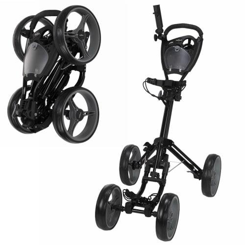 Caddymatic Golf Quad 4-Wheel Folding Golf Pull / Push Trolley Black