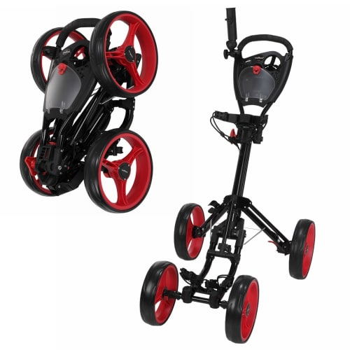 Caddymatic Golf Quad 4-Wheel Folding Golf Pull / Push Trolley Black/Red