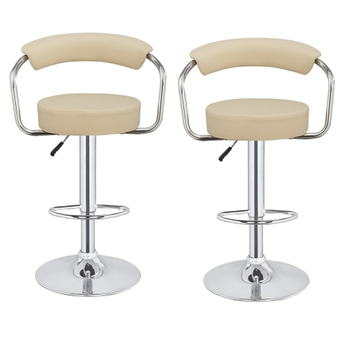 2 x Homegear M1 Kitchen Adjustable Bar Stools Cream