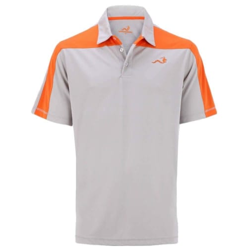 Woodworm Golf Block Panel Golf Polo Shirt - Beige/Orange