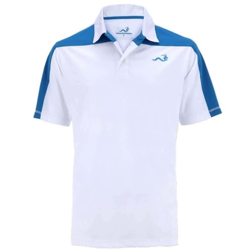 Woodworm Golf Block Panel Golf Polo Shirt - White/Blue