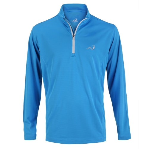 Woodworm 1/4 Zip Golf Pullover - Sky Blue/Silver