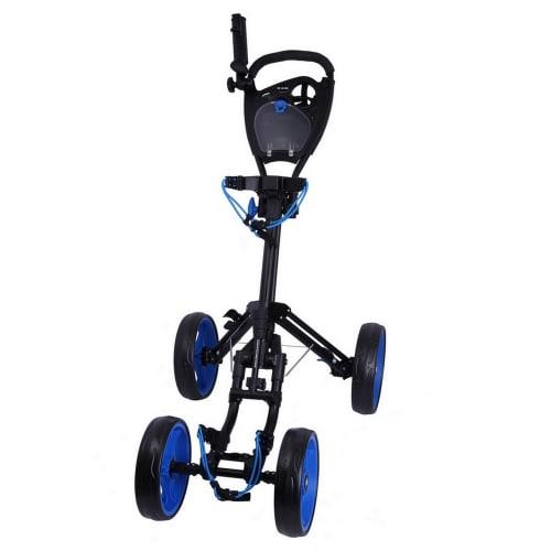 Ram Golf Deluxe FX 4 Wheel Golf Trolley - Black/Blue