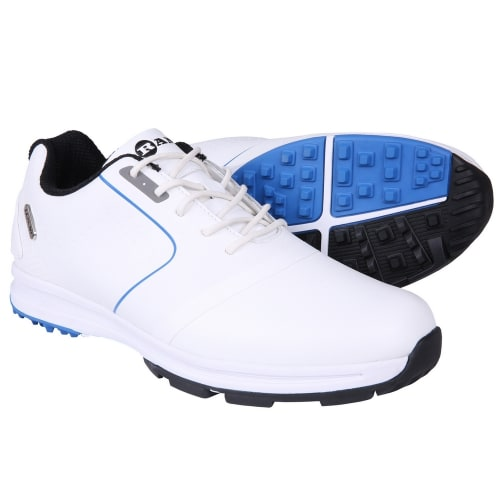 Ram Golf Player Waterproof Mens Golf Shoes - White / Blue