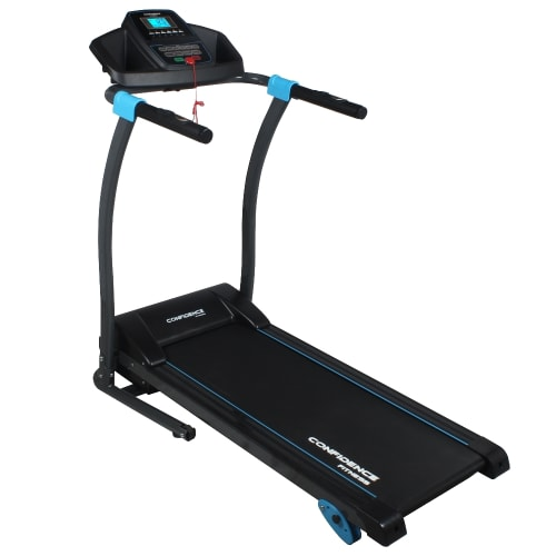Confidence Fitness TP-3 Folding Electric Treadmill - Motorised Running Machine with Manual Incline, LCD and Phone/Tablet Holder