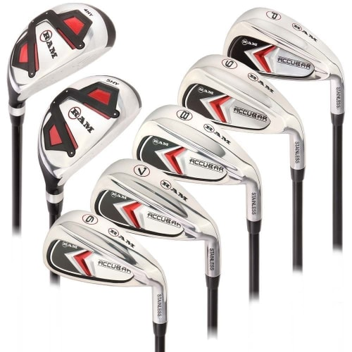 Ram Golf Accubar Mens Clubs Iron Set 6-7-8-9-PW with Hybrids 24° and 27° - Stiff Flex