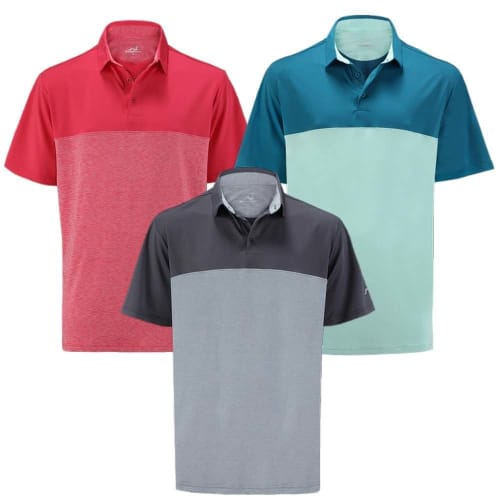 PACK OF 3 Woodworm Golf Shirts - Heather Panel Polos - Mens