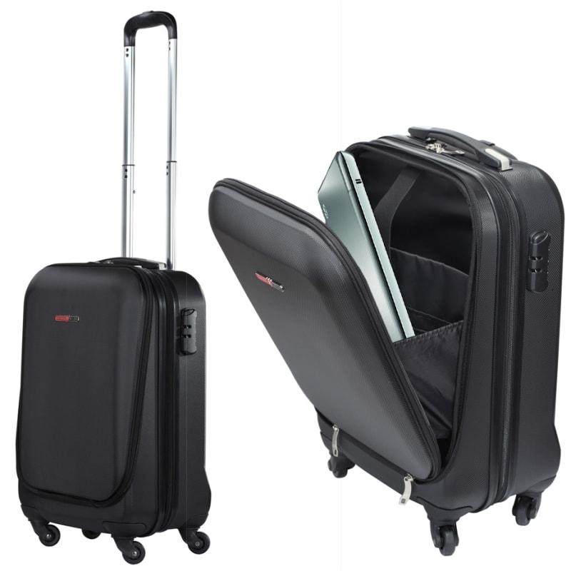 "OPEN BOX Swiss Case 20"" ABS 4W Suitcase Zip Pocket"