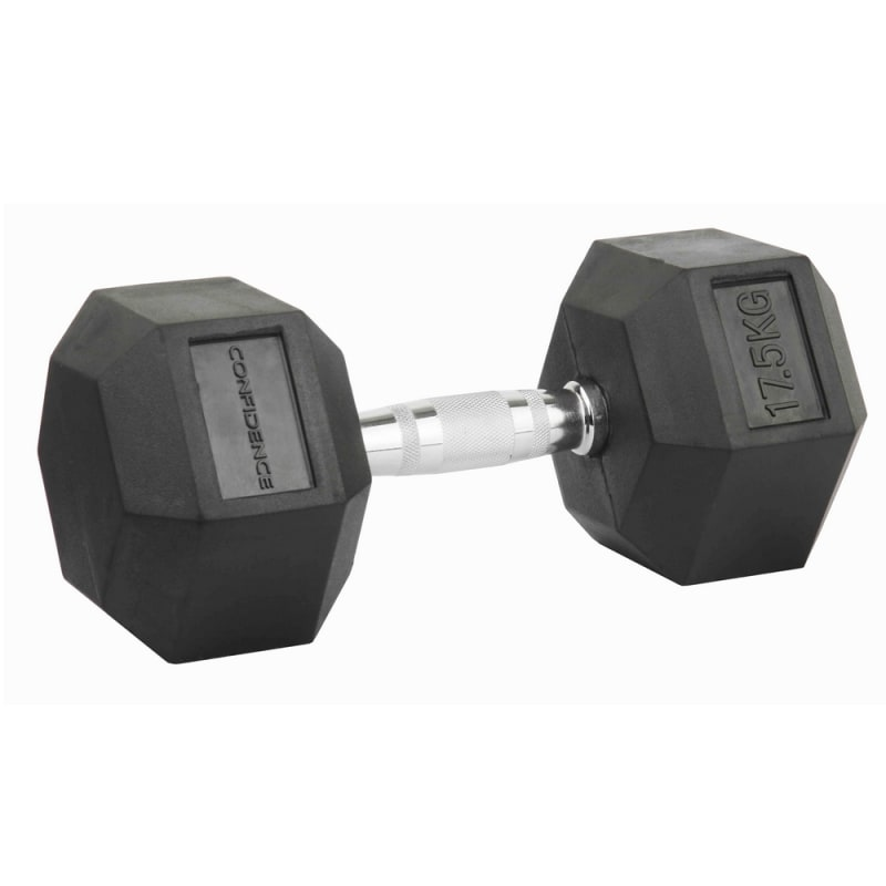 Confidence Fitness 17.5kg Rubber Hex Dumbbell