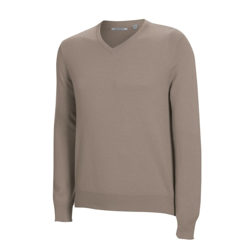 Ashworth Mens Long Sleeve V Neck Merino Sweater