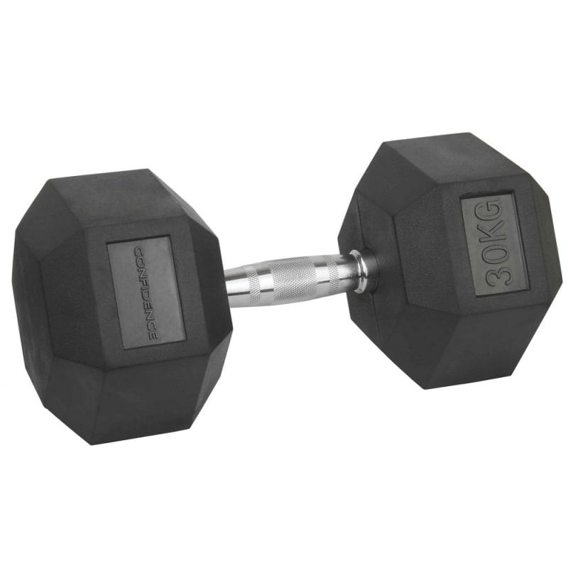Confidence Fitness 30kg Rubber Hex Dumbbell