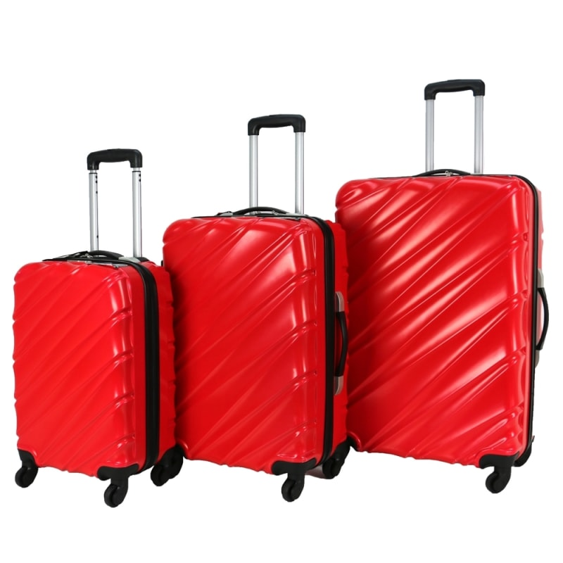 Swiss Case 4 Wheel Wave 3Pc Suitcase Set - Red