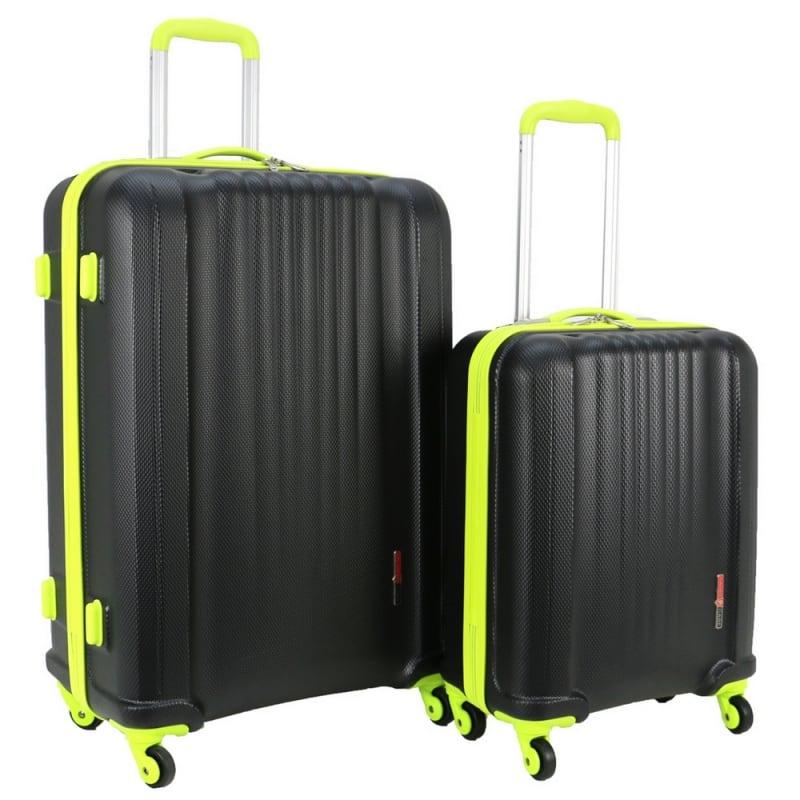 Swiss Case 4 Wheel EZ2C 2Pc Suitcase Set - Black / Neon