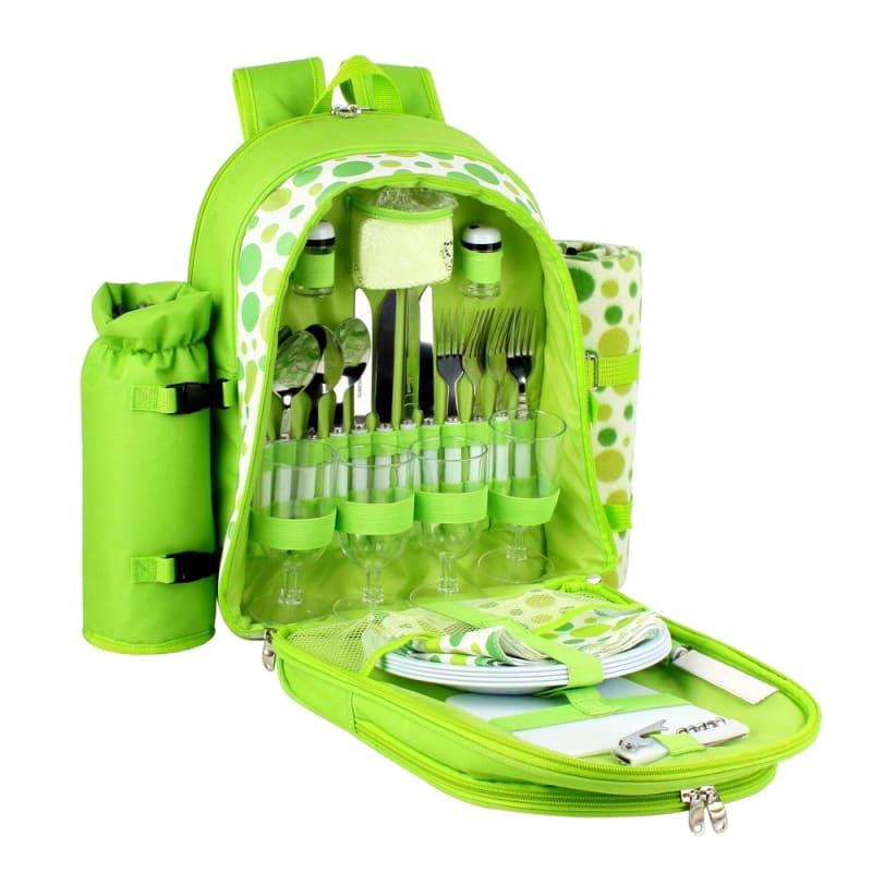 Confidence Picnic Backpack Bright Green Polkadots