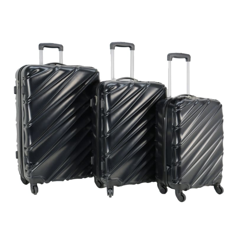 Swiss Case 4 Wheel Wave 3Pc Suitcase Set - Black