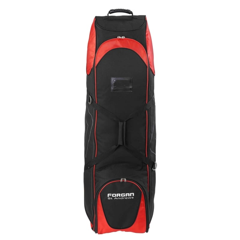 OPEN BOX Forgan of St Andrews Deluxe Large Golf Travel Bag / Flight Cover with Wheels Black/Red #