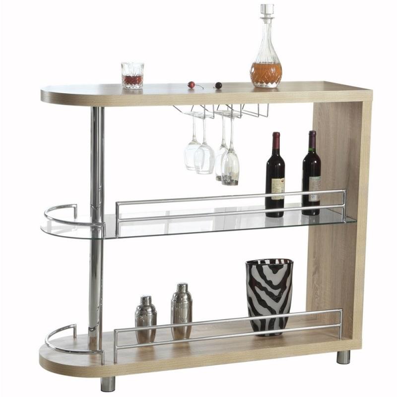 Homegear Deluxe Kitchen Bar Table - Oak