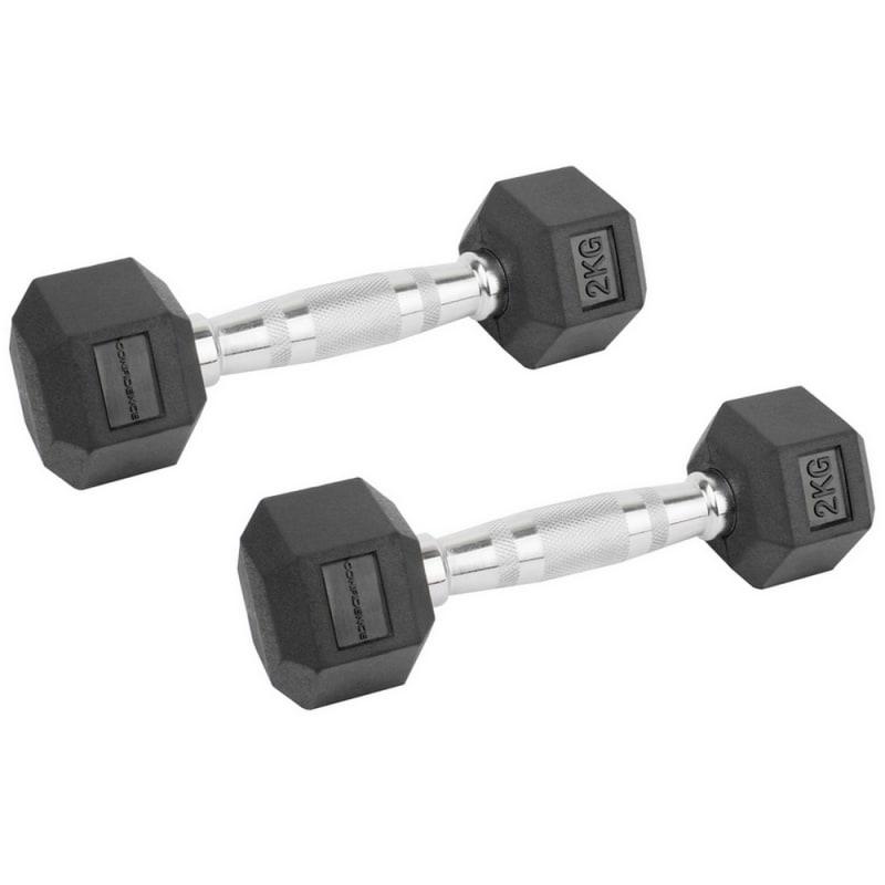 Confidence Fitness 2kg Rubber Hex Dumbbell Set