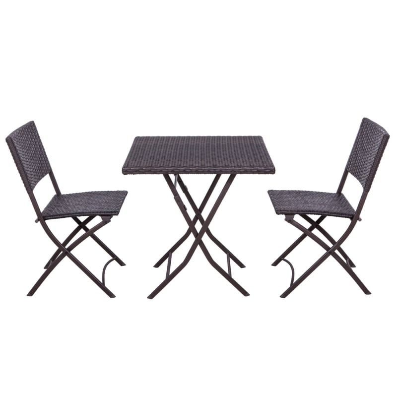Palm Springs 3Pc Rattan Dining Table and Chair Set #1