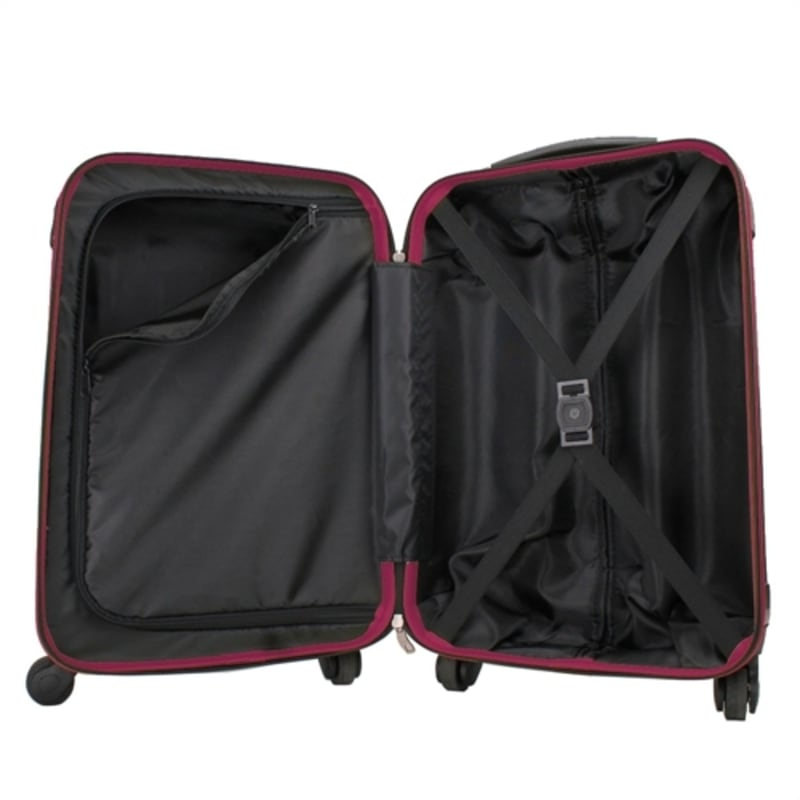 OPEN BOX Swiss Case 4W 2pc Suitcase Set Black / Purple #3