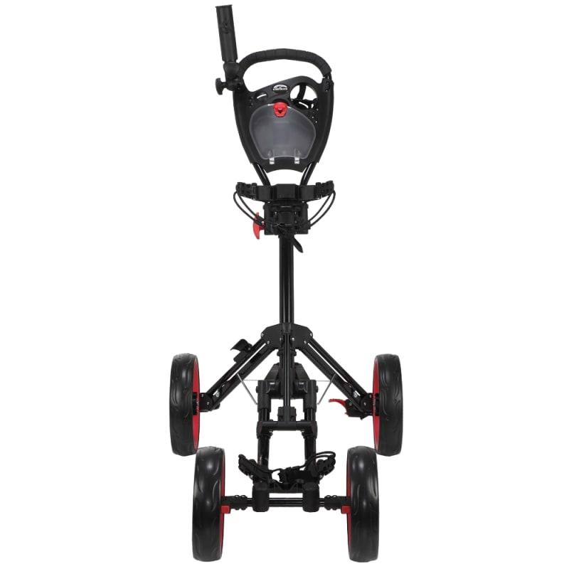Caddymatic Golf Quad 4-Wheel Folding Golf Pull / Push Cart Black/Red #1