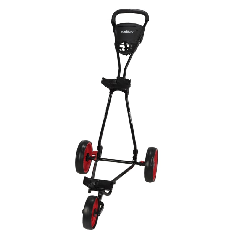 Caddymatic Golf Continental 3 Wheel Folding Golf Push/Pull Cart Black/Red #