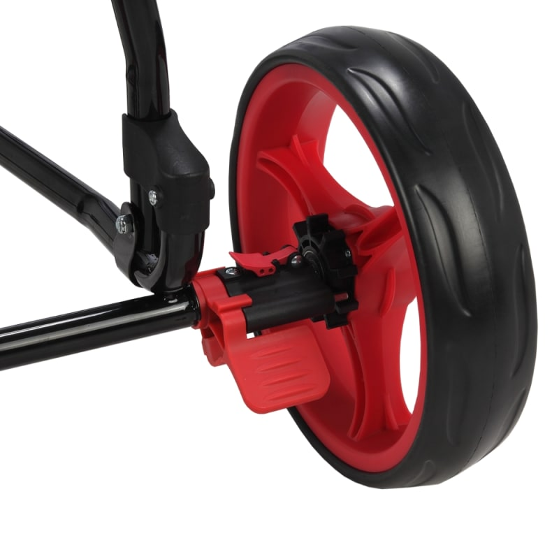 Caddymatic Golf Continental 3 Wheel Folding Golf Push/Pull Cart Black/Red #3