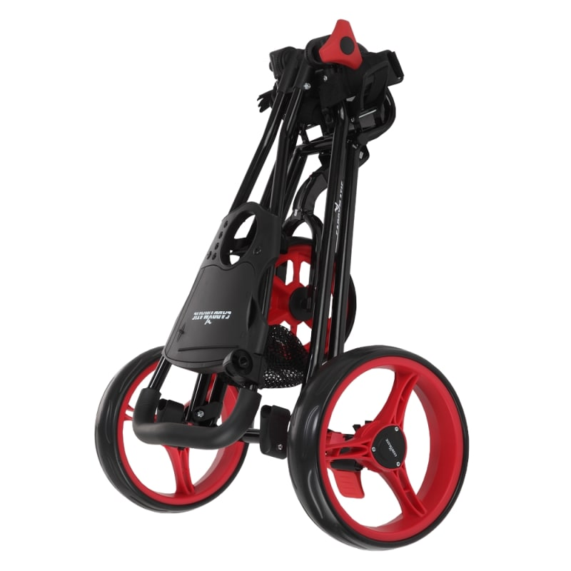 Caddymatic Golf Continental 3 Wheel Folding Golf Push/Pull Cart Black/Red #4