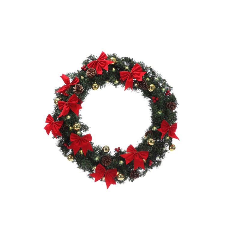 "Homegear 24"" Decorated Christmas Wreath W/ Lights"