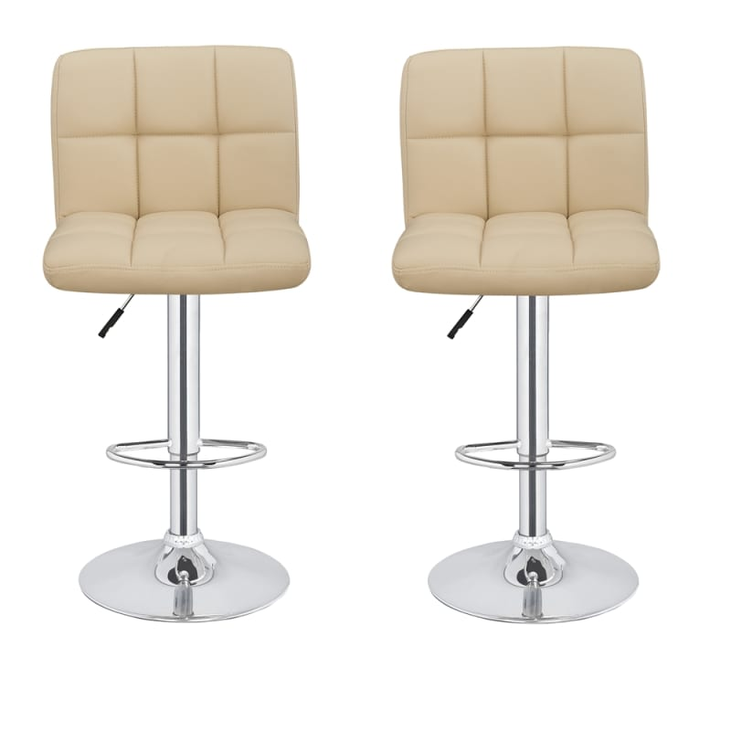 2 x Homegear M2 Contemporary Adjustable Bar Stools Cream
