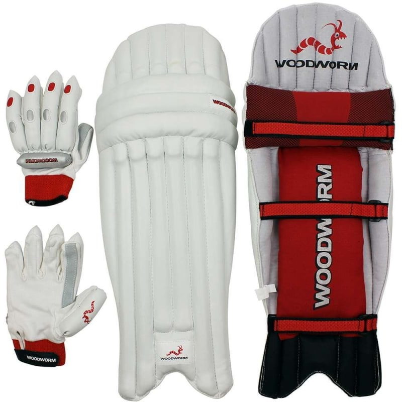 Woodworm Cricket Batting Gloves / Pads Mens Right Hand Set