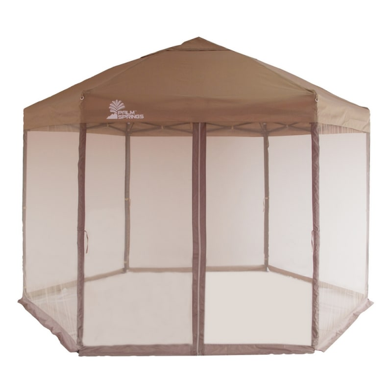 Palm Springs Hexagonal Pop Up Canopy Tent with Mesh Walls #1