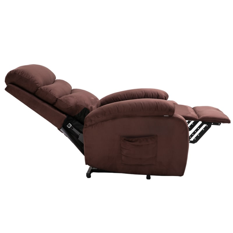 Homegear 2-Remote Microfiber Power Lift Electric Recliner Chair with Massage, Heat and Vibration with Remote - Brown #2