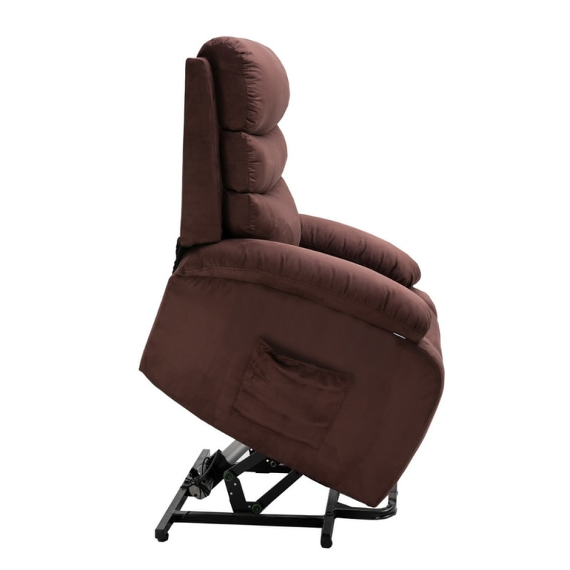 Homegear 2-Remote Microfiber Power Lift Electric Recliner Chair with Massage, Heat and Vibration with Remote - Brown #4