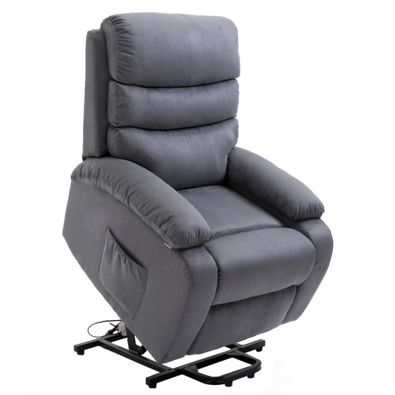 Homegear 2-Remote Microfiber Power Lift Electric Recliner Chair V2 with Massage, Heat and Vibration with Remote - Charcoal #1
