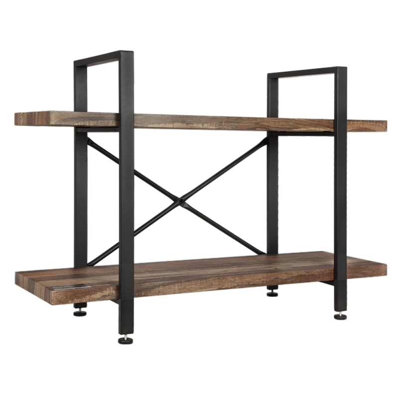 Homegear Furniture Vintage Oak Style 2-Tier Bookcase - Wood Shelves with Black Iron Frame