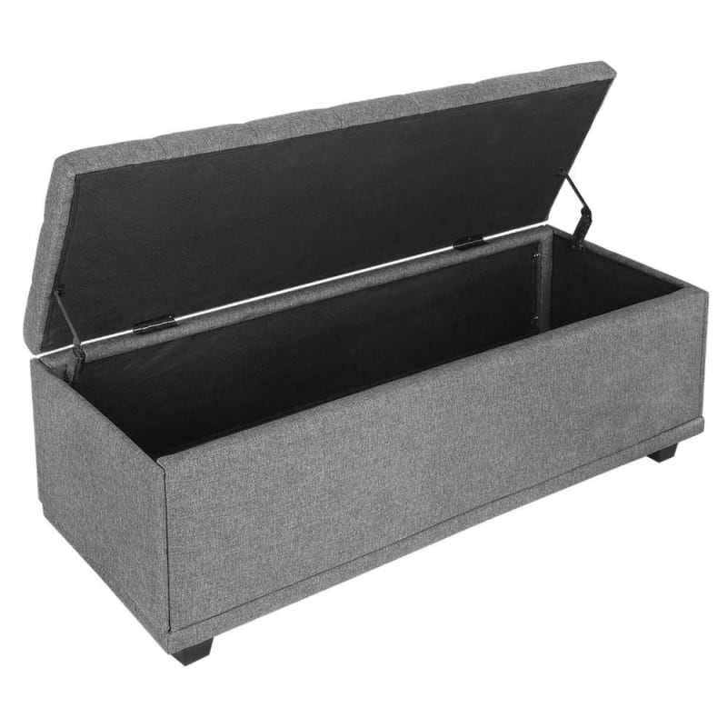 Cool Open Box Homegear 47 Large Fabric Ottoman Storage Bench Chest Footrest With Padded Seat And Hinged Lid Gray Frankydiablos Diy Chair Ideas Frankydiabloscom