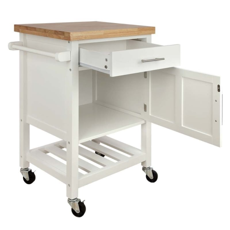 Homegear Kitchen Cart Butchers Block with Shelf and Cabinet on Wheels