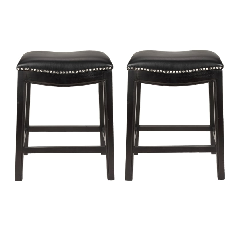 Homegear Faux Leather Backless Metal-Stud Bar Stools, Set of 2, Black #1
