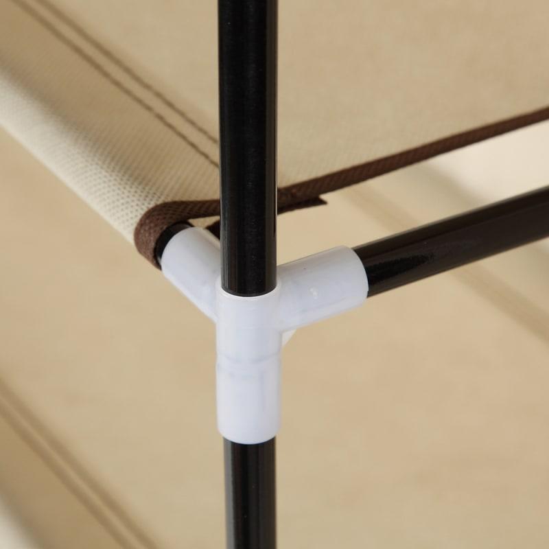 Homegear Large Free Standing Fabric Shoe Rack / Storage Cabinet Cream #6