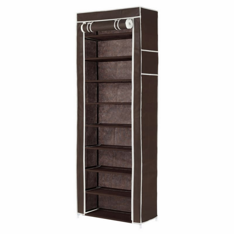 Homegear Large Fabric Shoe Rack Dark Brown