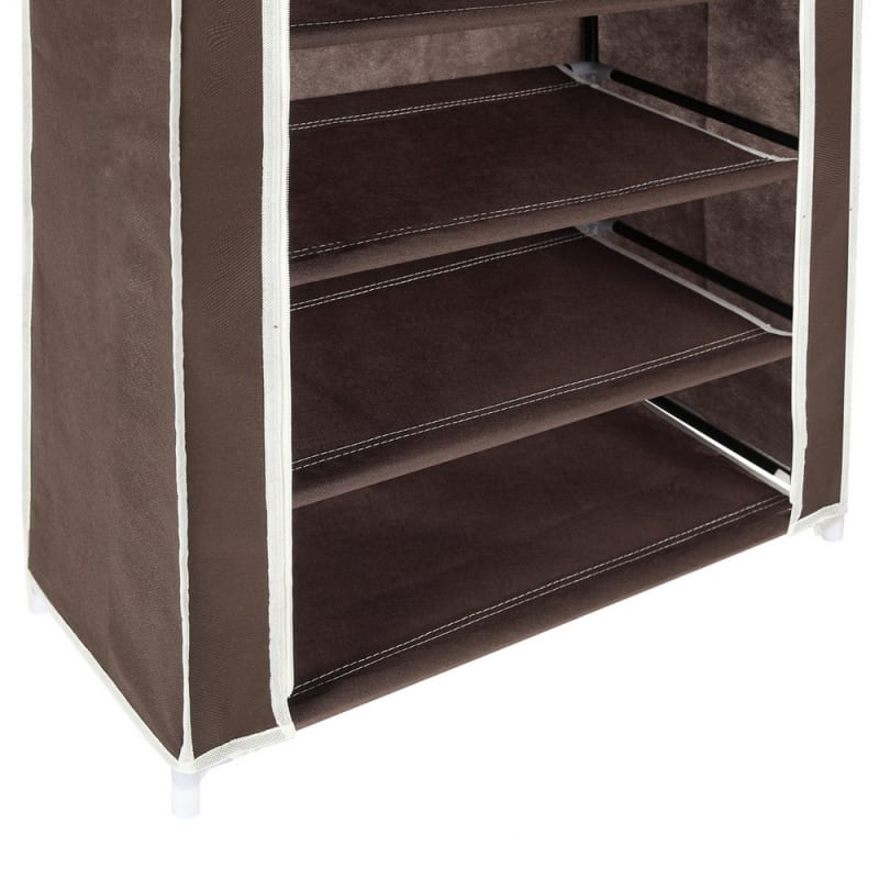 Homegear Large Free Standing Fabric Shoe Rack /Storage Cabinet Dark Brown #5
