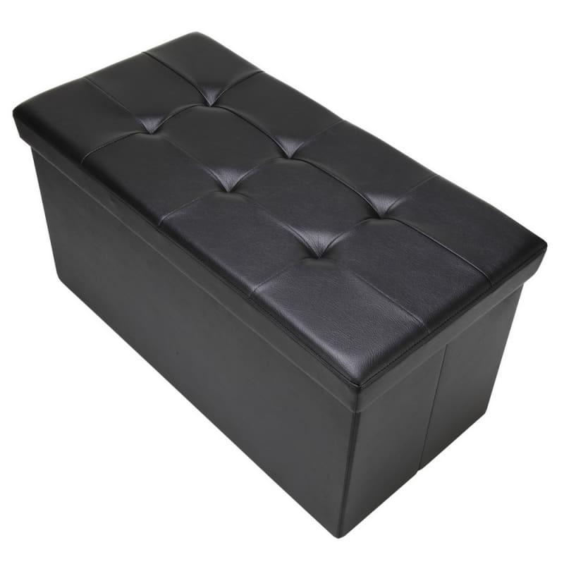 "Homegear 30"" Folding Storage MKII Ottoman / Footstool Black #1"