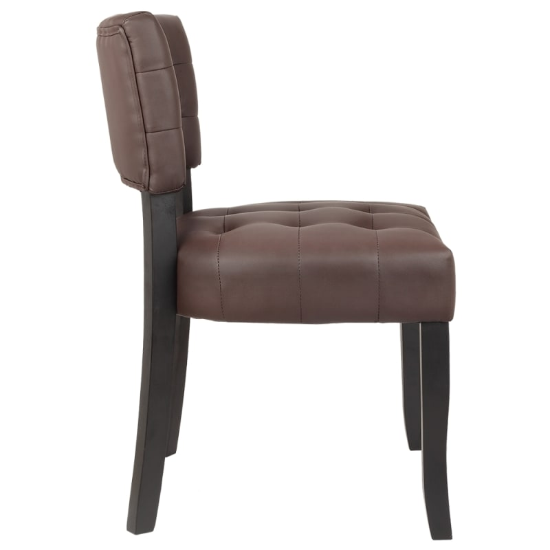 Homegear Oversized Tufted Faux Leather Accent Chair, Brown