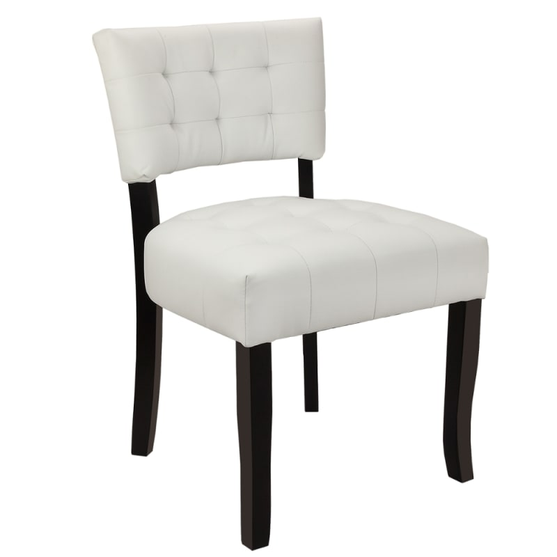 Homegear Oversized Tufted Faux Leather Accent Chair, White
