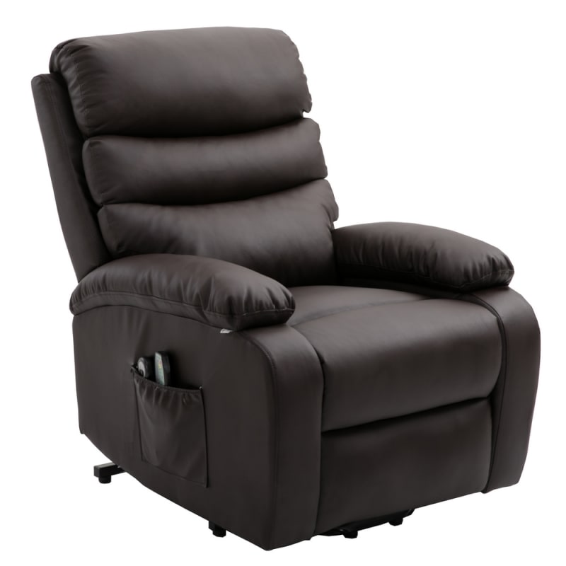 OPEN BOX Homegear PU Leather Power Lift Electric Recliner Chair with Massage, Heat and Vibration with Remote - Brown #3