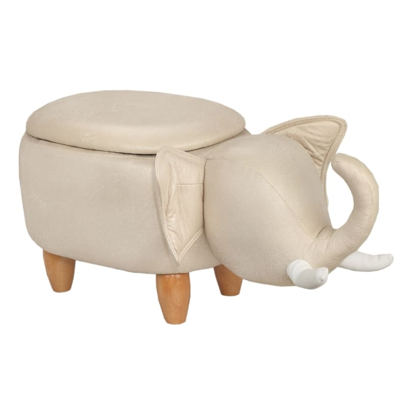 Homegear Animal Kids/Nursery Ride-On Storage Ottoman / Footrest Stool - Grey Elephant
