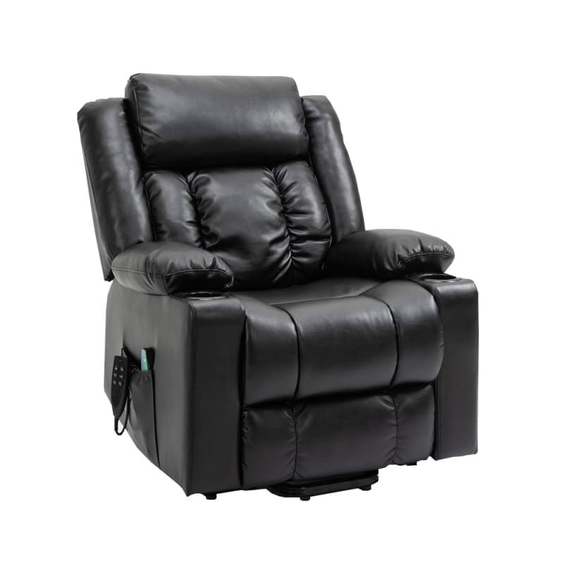 Homegear Air Leather Tri-Motor Reclining Lift Chair with Massage, Black #4