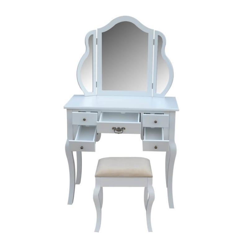 Homegear Venetian Dressing Table & Stool Set-White