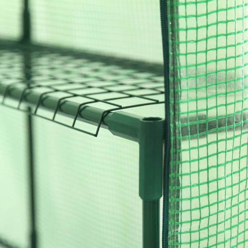 Palm Springs 12-Shelf Walk-in Greenhouse - Green Plastic Cover with Zippered Roll-Up Door #3